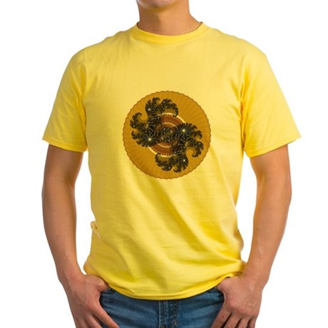 Fractal Kaleidoscope Gold Yellow T-Shirt