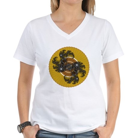 Fractal Kaleidoscope Gold Women's V-Neck T-Shirt