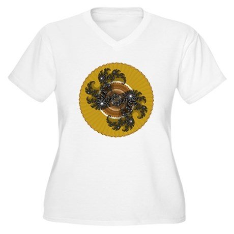 Fractal Kaleidoscope Gold Women's Plus Size V-Neck
