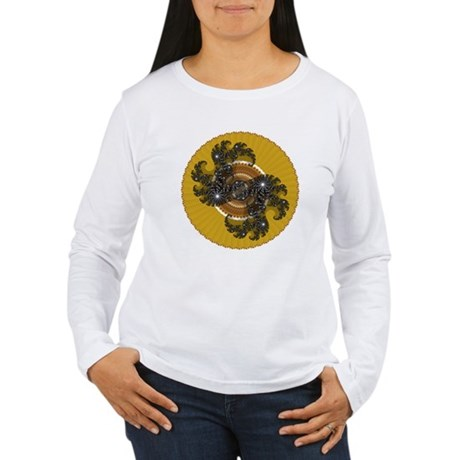 Fractal Kaleidoscope Gold Women's Long Sleeve T-Sh