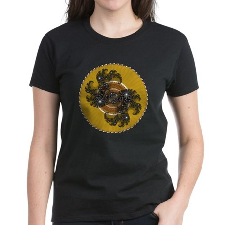 Fractal Kaleidoscope Gold Women's Dark T-Shirt