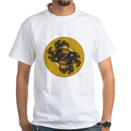 Fractal Kaleidoscope Gold White T-Shirt