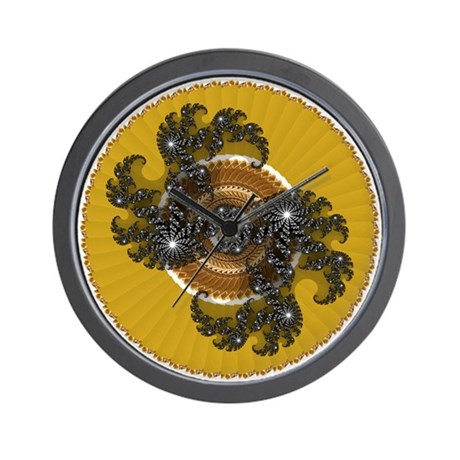 Fractal Kaleidoscope Gold Wall Clock