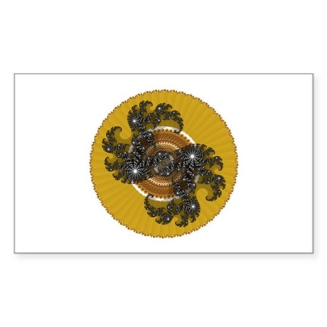 Fractal Kaleidoscope Gold Rectangle Sticker