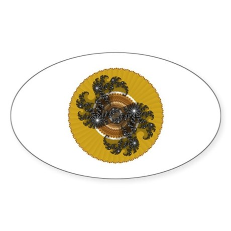 Fractal Kaleidoscope Gold Oval Sticker