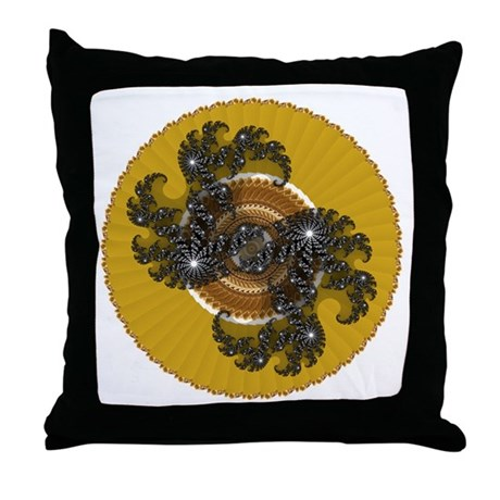 Fractal Kaleidoscope Gold Throw Pillow