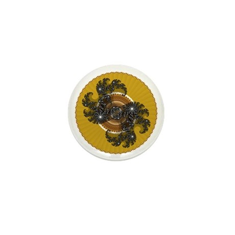 Fractal Kaleidoscope Gold Mini Button (10 pack)