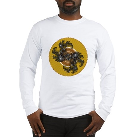 Fractal Kaleidoscope Gold Long Sleeve T-Shirt