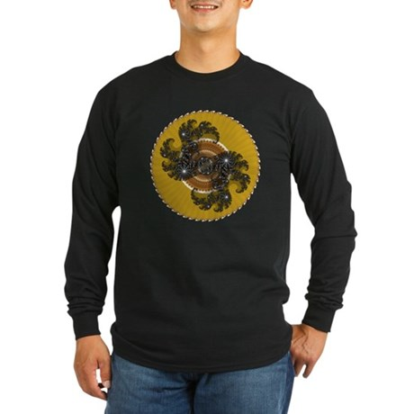 Fractal Kaleidoscope Gold Long Sleeve Dark T-Shirt