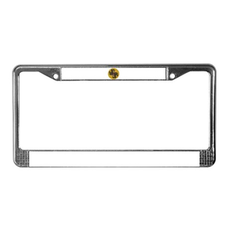 Fractal Kaleidoscope Gold License Plate Frame