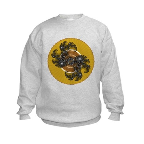 Fractal Kaleidoscope Gold Kids Sweatshirt