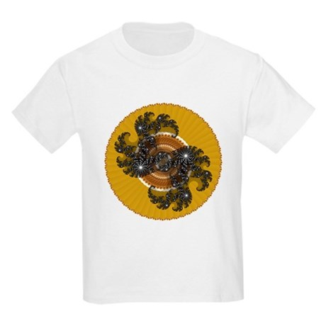 Fractal Kaleidoscope Gold Kids Light T-Shirt