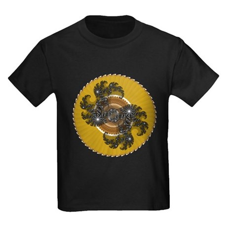 Fractal Kaleidoscope Gold Kids Dark T-Shirt
