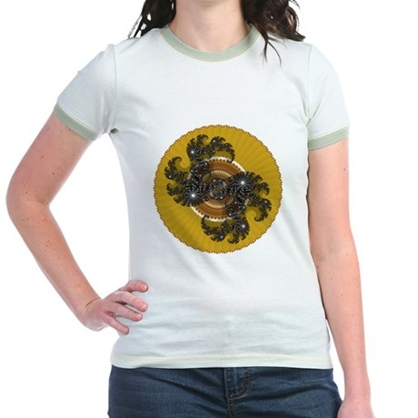 Fractal Kaleidoscope Gold Jr. Ringer T-Shirt