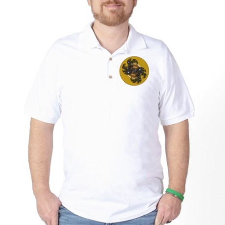 Fractal Kaleidoscope Gold Golf Shirt