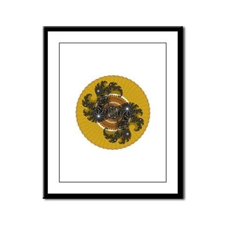 Fractal Kaleidoscope Gold Framed Panel Print