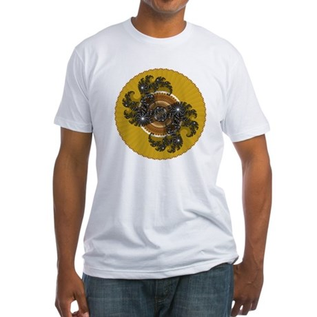 Fractal Kaleidoscope Gold Fitted T-Shirt
