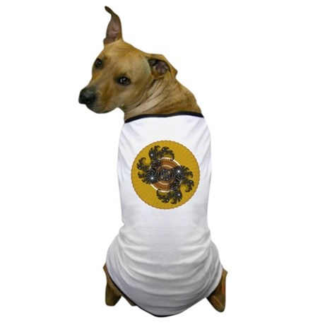 Fractal Kaleidoscope Gold Dog T-Shirt