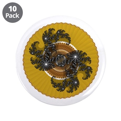 "Fractal Kaleidoscope Gold 3.5"" Button (10 pack)"