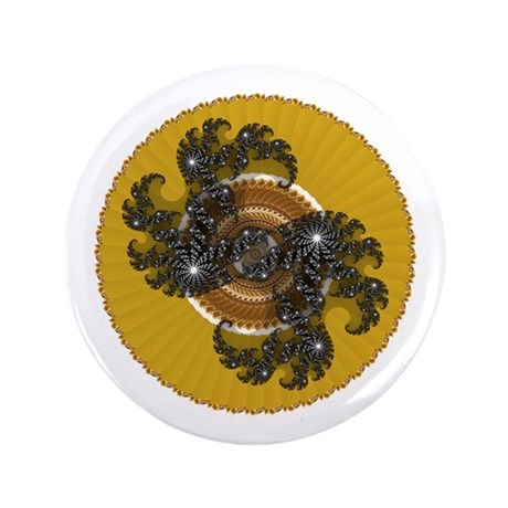 "Fractal Kaleidoscope Gold 3.5"" Button (100 pack)"