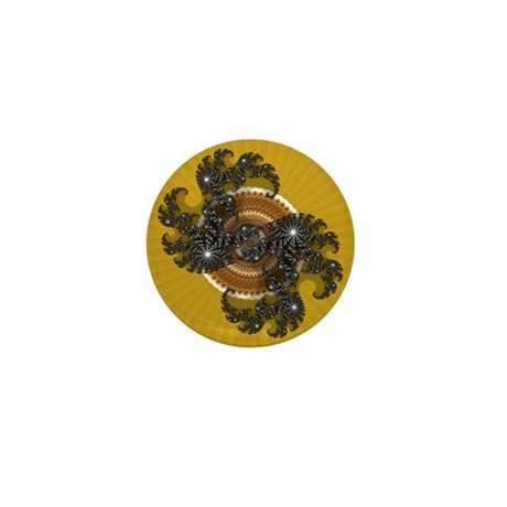 Fractal Kaleidoscope Gold Mini Button (100 pack)