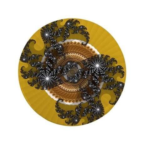 "Fractal Kaleidoscope Gold 3.5"" Button"