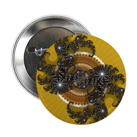 "Fractal Kaleidoscope Gold 2.25"" Button"