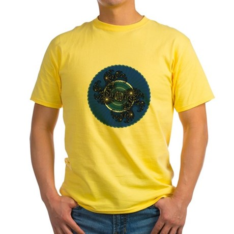 Fractal Kaleidoscope Blue Yellow T-Shirt
