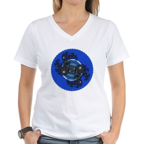 Fractal Kaleidoscope Blue Women's V-Neck T-Shirt