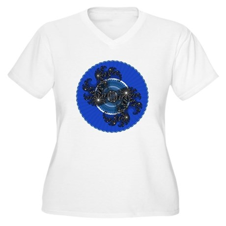 Fractal Kaleidoscope Blue Women's Plus Size V-Neck