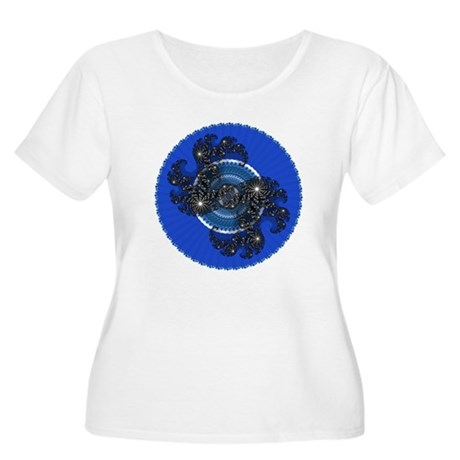 Fractal Kaleidoscope Blue Women's Plus Size Scoop