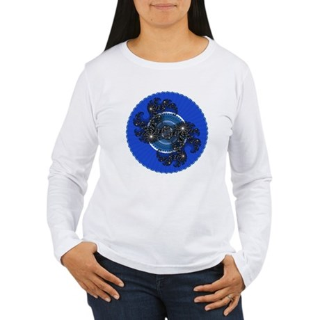 Fractal Kaleidoscope Blue Women's Long Sleeve T-Sh