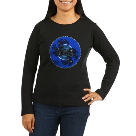 Fractal Kaleidoscope Blue Women's Long Sleeve Dark
