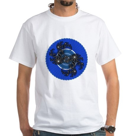 Fractal Kaleidoscope Blue White T-Shirt