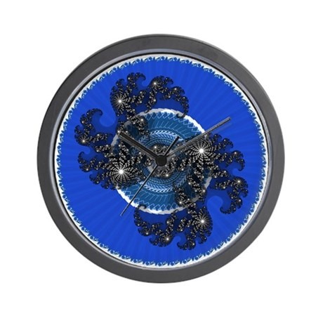 Fractal Kaleidoscope Blue Wall Clock