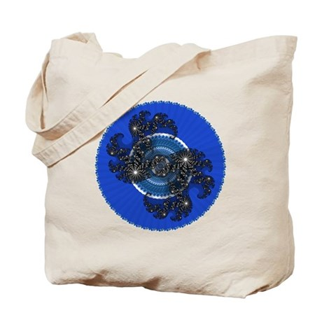 Fractal Kaleidoscope Blue Tote Bag