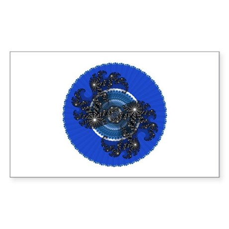 Fractal Kaleidoscope Blue Rectangle Sticker