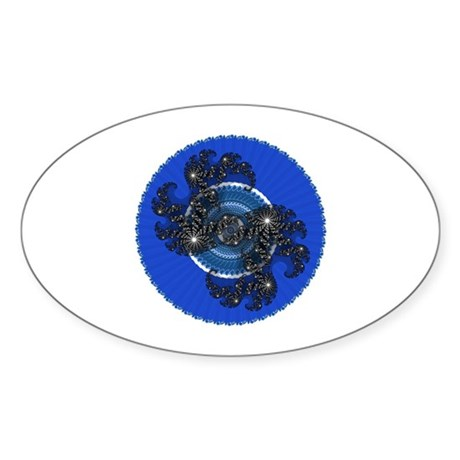 Fractal Kaleidoscope Blue Oval Sticker