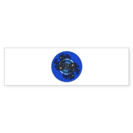 Fractal Kaleidoscope Blue Bumper Sticker