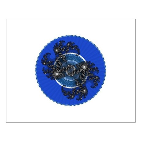 Fractal Kaleidoscope Blue Small Poster