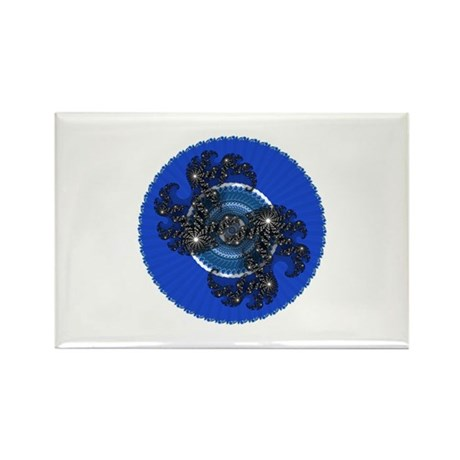 Fractal Kaleidoscope Blue Rectangle Magnet