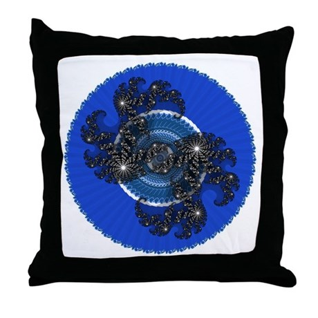 Fractal Kaleidoscope Blue Throw Pillow