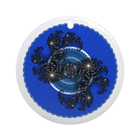 Fractal Kaleidoscope Blue Ornament (Round)