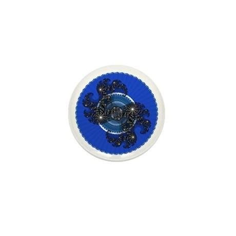 Fractal Kaleidoscope Blue Mini Button (100 pack)