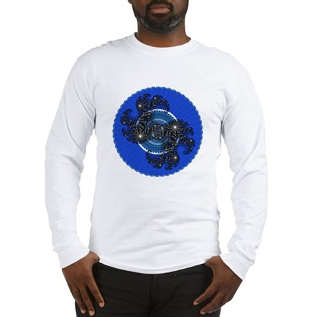 Fractal Kaleidoscope Blue Long Sleeve T-Shirt
