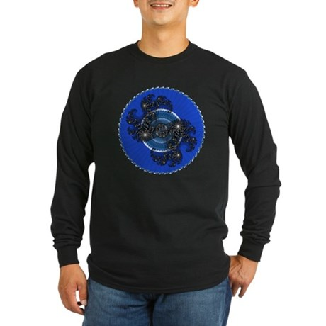 Fractal Kaleidoscope Blue Long Sleeve Dark T-Shirt