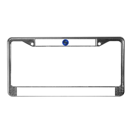 Fractal Kaleidoscope Blue License Plate Frame