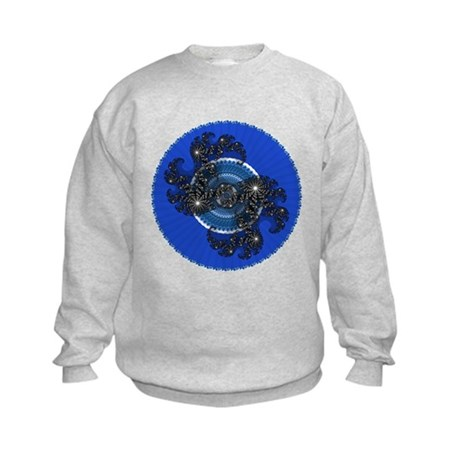 Fractal Kaleidoscope Blue Kids Sweatshirt