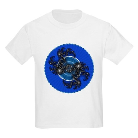 Fractal Kaleidoscope Blue Kids Light T-Shirt