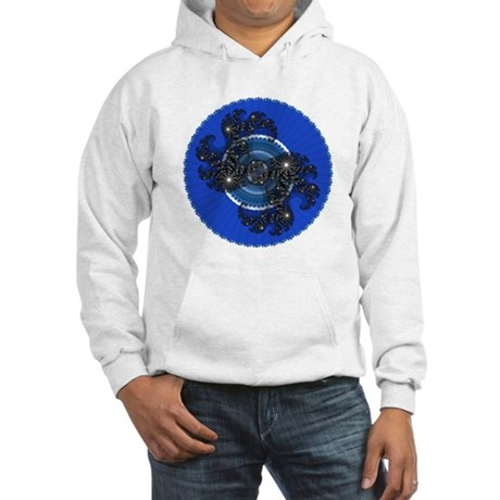 Fractal Kaleidoscope Blue Hooded Sweatshirt